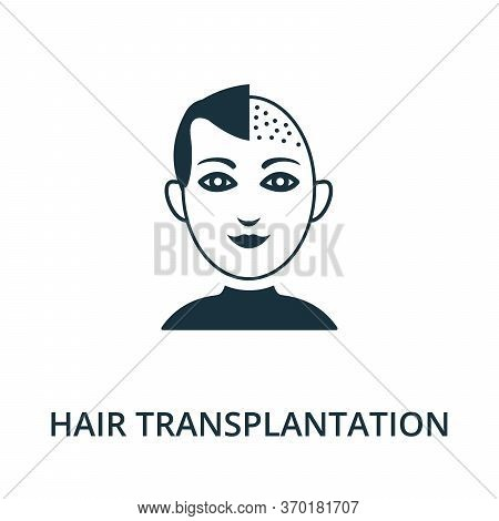 Hair Transplantation Icon From Plastic Surgery Collection. Simple Line Element Hair Transplantation