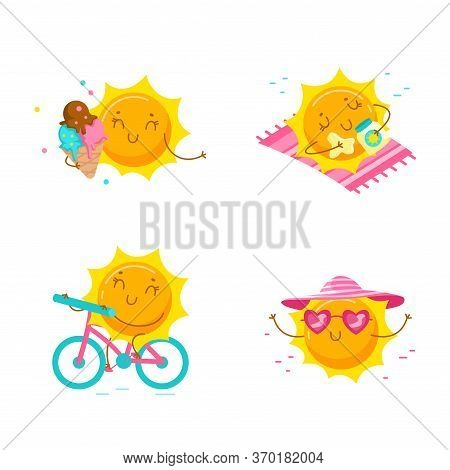 Set Of Cute Cartoon Sun Characters. Kawaii Personage On Summer Vacation, Summertime Activity And Spa