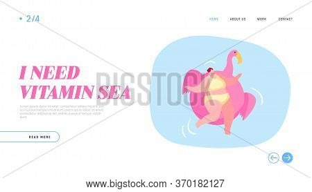 Hotel Relax In Swimming Pool, Ocean Or Sea Landing Page Template. Relaxed Female Character Enjoying