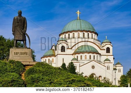 Saint Sava Church And Karadjordje Monument In Belgrade, Serbia
