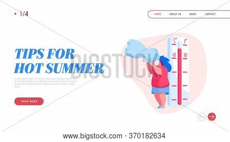 Summer Time Landing Page Template. Female Character Suffer Of Hot Temperature. Woman Drinking Water