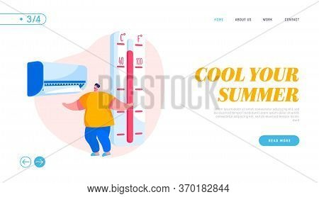 Summer Extreme Hot Weather, Summertime Season Heating Landing Page Template. Young Man Suffering Of
