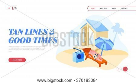 Tourist Relaxing On Seaside Resort Landing Page Template. Man Character Lounging And Listening Radio
