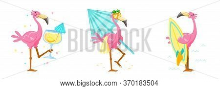Set Cute Pink Flamingo Drink Cocktail, Carry Umbrella And Surf Board. Cartoon Character Summer Vacat