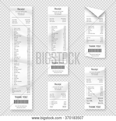 Set Of Paper Receipts Isolated On Background. Realistic Paper Receipt, Check And Payment Bill Printe