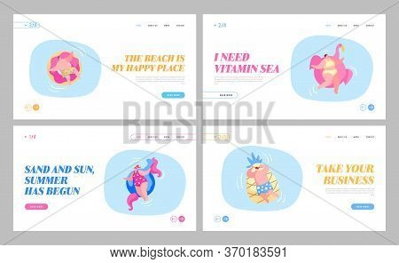 Men And Women Having Fun, Relaxing On Summer Vacation Resort Landing Page Template Set. Characters S