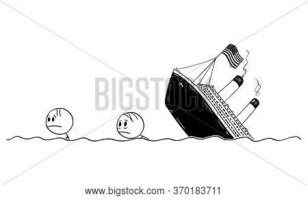 Vector Cartoon Stick Figure Drawing Conceptual Illustration Of Two Men Or Survivors Swimming In Wate