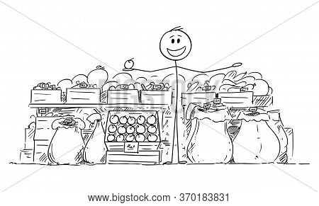 Vector Cartoon Stick Figure Drawing Conceptual Illustration Of Local Farmer Selling Food, Fruit And
