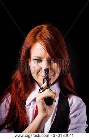 A Red-haired Beautiful Girl In A White Shirt, Black Vest And Red Tie, With A Gun In Her Hand, Concei