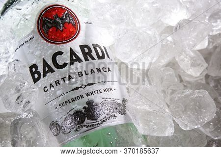 Bottle Of Bacardi Gold Rum In Crushed Ice
