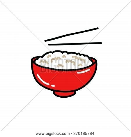 Rice With Chopsticks Doodle Icon, Vector Color Illustration