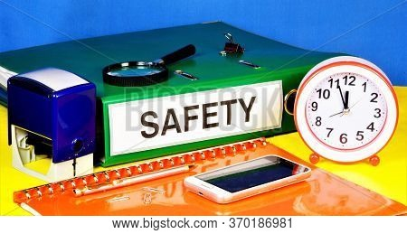 Safety-document Label In The Registrar's Folder. Professional Well-being And Health Of Employees At
