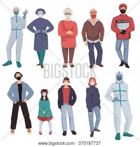 Coronavirus Epidemic Clothes, Characters Wearing Masks And Costumes