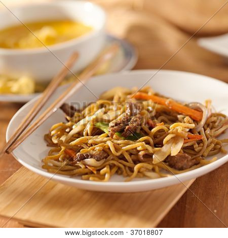 Chinese food - Beef lo mein meal