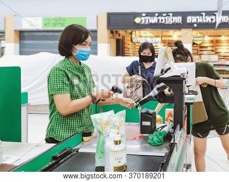 Kanchanaburi, Thailand - May 6,2020: Unidentified Customer Wearing Face Mask Protection In Preventio