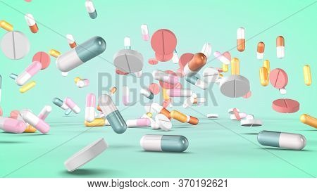Set Of Various Pills And Capsules. 3d Rendering