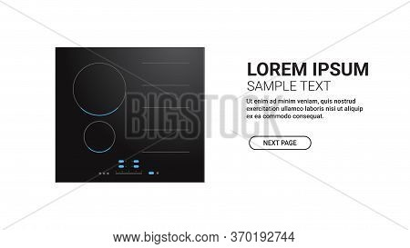 Black Inductive Hob With Ceramic Surface Top View Of Electric Stove Domestic Equipment Home Applianc