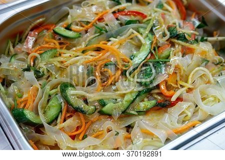 Ashlyamfu, Starch Noodles, Dishes National Dish Of The Uighur Cuisine. Sale Of A Ready-made Dish On
