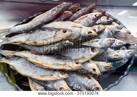 Dried Fish. Dried Fish Background. Dried Ballerus. Sale On The Market