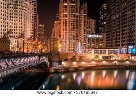 Chicago, Il, Usa- December 16, 2017,chicago Tribune Tower, Cityscape At Night, For Editorial Use Onl