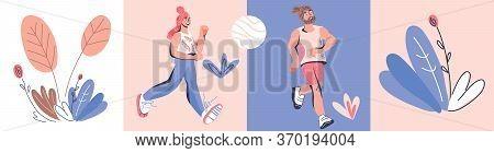 Marathon Race Runners Characters Of Running Men And Women.