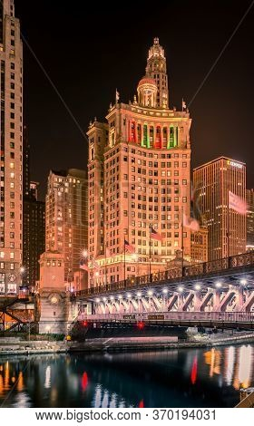 Chicago, Illinois Usa- December 16, 2017, Chicago River, Dusable Bridge At Night (for Editorial Use