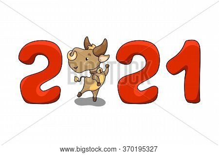 2021 Year Of Ox Isolated Vector Illustration With Cute Cow Character. 2021 New Year Banner On White