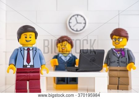 Tambov, Russian Federation - June 3, 2020 Lego Minifigure Businessmen Having A Meeting And Discussin