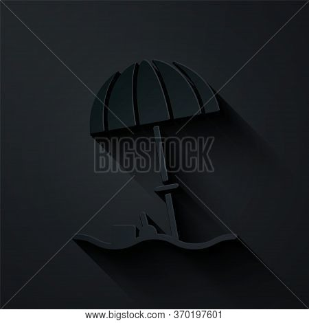 Paper Cut Sun Protective Umbrella For Beach Icon Isolated On Black Background. Large Parasol For Out