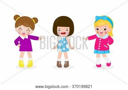 Bullying Children At School. School Girls And Gill Laughing And Pointing At Cry Girl  Kids Bully Fri