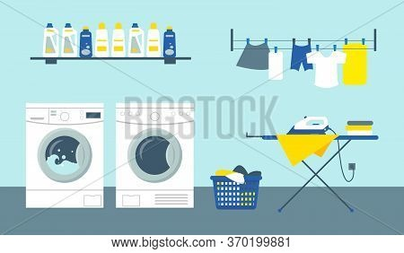 Laundry Service Room Vector Illustration. Washing And Drying Machines With Cleansers On Shelf, Iron