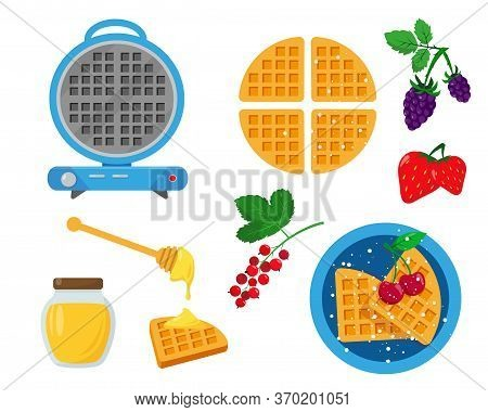 Blue Waffle Iron With Waffles, Berries And Honey For Serving And Decorating. Set Vector Illustration