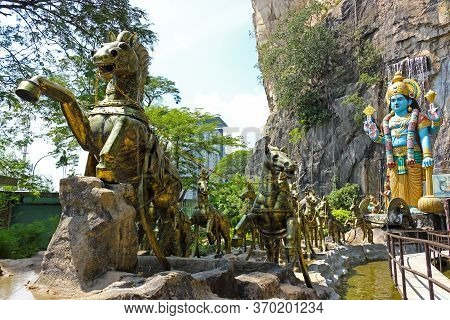 Kuala Lumpur, Malaysia - March 15, 2019: Decorated Entrance To Ramayana Cave To Batu Caves Complex I