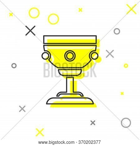 Grey Line Christian Chalice Icon Isolated On White Background. Christianity Icon. Happy Easter. Vect