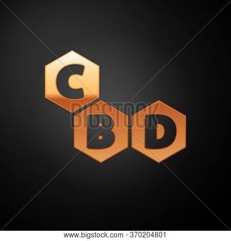 Gold Cannabis Molecule Icon Isolated On Black Background. Cannabidiol Molecular Structures, Thc And