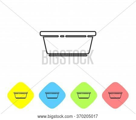 Grey Line Plastic Basin Icon Isolated On White Background. Bowl With Water. Washing Clothes, Cleanin