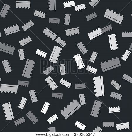 Grey Sponge With Bubbles Icon Isolated Seamless Pattern On Black Background. Wisp Of Bast For Washin