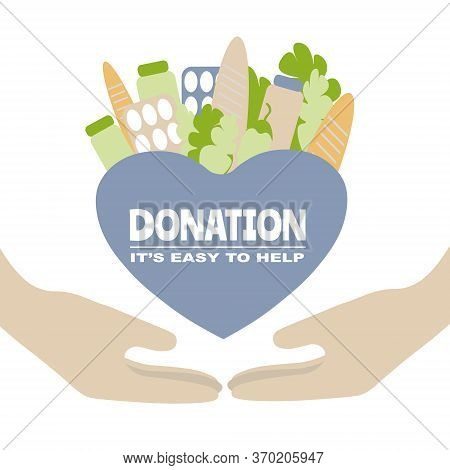 Help With Love Concept. Its Easy To Help, Voluntary, Food  Donation Flat Vector Illustration, Charit