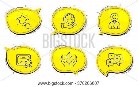 Safe Energy Sign. Diploma Certificate, Save Planet Chat Bubbles. Ranking Star, Copyrighter And Time