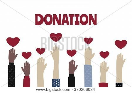 Voluntary, Charity And Donation Flat Vector Illustration, Charity And  Fostering, Social Help. Hands