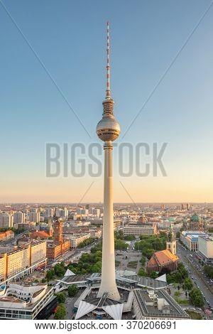 Berlin, Germany - May 18, 2019: Berlin TV Tower at Alexander Platz at summer in Berlin, Germany
