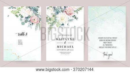Silver Sage Green, Mint, Blue, White Flowers Vector Design Spring Cards. White Peony, Dahlia, Dusty