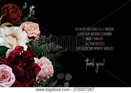 Elegant Dark Frame, Arranged Leaves And Flowers. Dusty Pink Garden Rose, White And Burgundy Red Peon