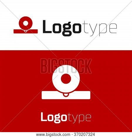 Red Otolaryngological Head Reflector Icon Isolated On White Background. Equipment For Inspection The