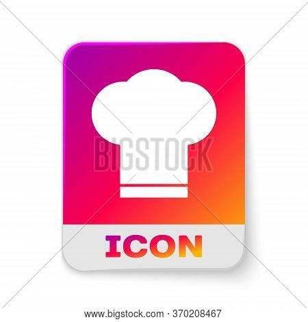 White Chef Hat Icon Isolated On White Background. Cooking Symbol. Cooks Hat. Rectangle Color Button.
