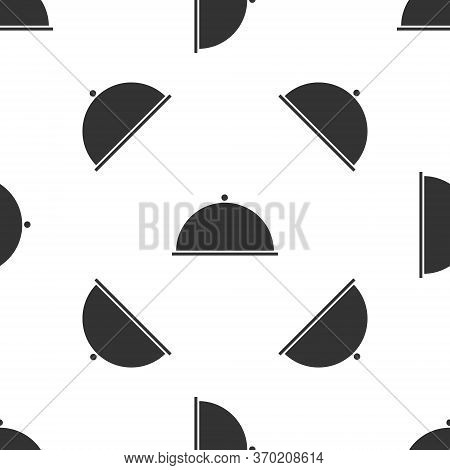 Grey Covered With A Tray Of Food Icon Isolated Seamless Pattern On White Background. Tray And Lid. R