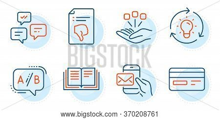 Consolidation, Credit Card And Chat Messages Signs. Messenger Mail, Idea And Ab Testing Line Icons S