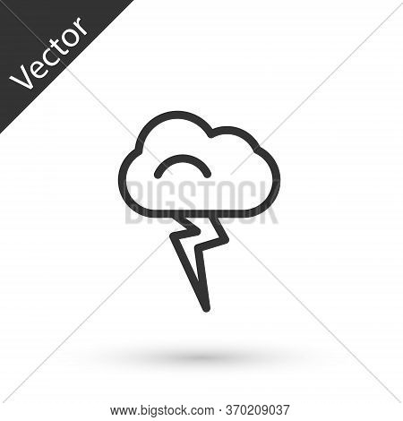 Grey Line Storm Icon Isolated On White Background. Cloud And Lightning Sign. Weather Icon Of Storm.