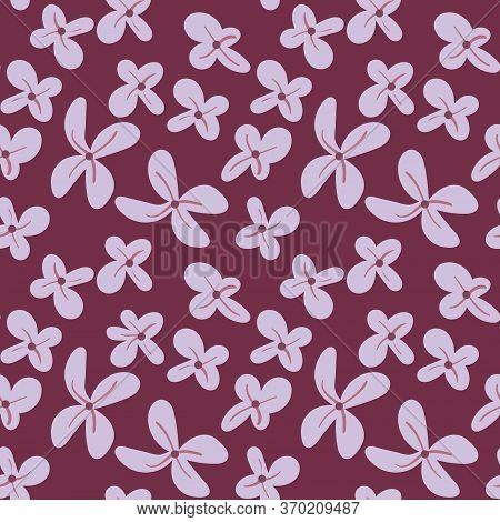 Lilac Seamless Pattern. Hand Drawn Flowers On Purple Background. Find A Five-leafed Floret. Vector I