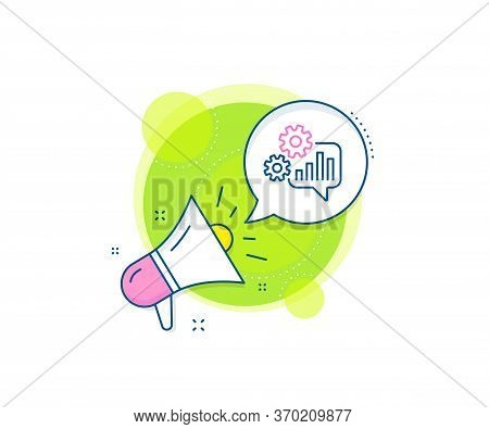 Engineering Tool Sign. Megaphone Promotion Complex Icon. Cogwheel Chat Line Icon. Cog Gear Symbol. B